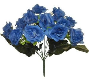 12 Open Roses BLUE Long Stem Silk Flowers Bouquet Wedding ...