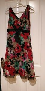 Next-floaty-Floral-50s-Vintage-Inspired-Fit-amp-Flare-a-line-Dress-Size-12