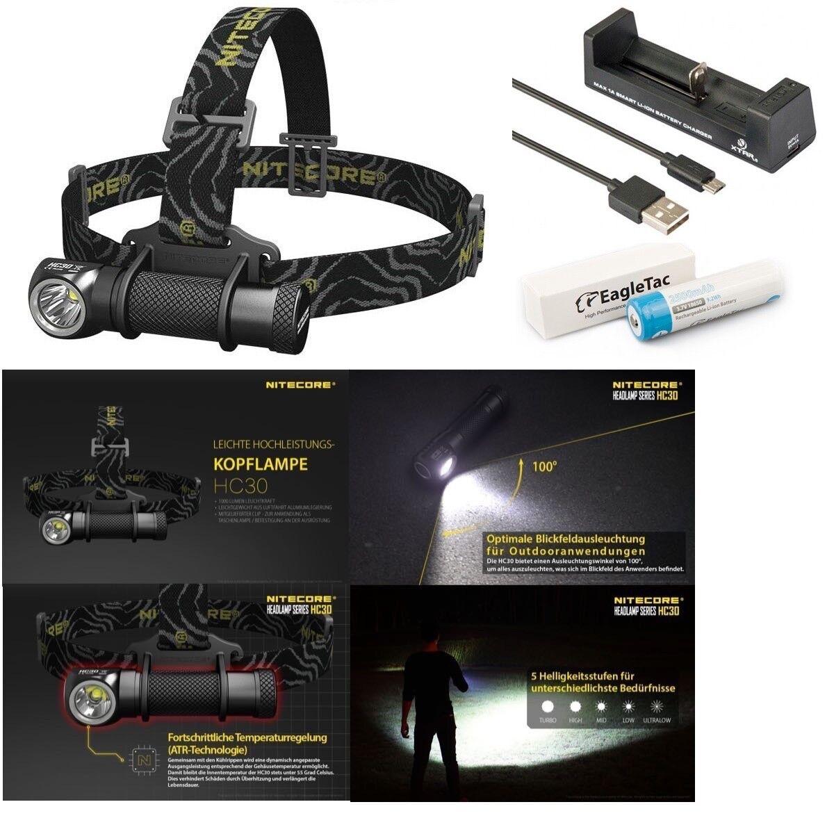 Nitecore la Lumière de Tête   Multileuchte HC30 LED + Batterie 2500mAh + Xtar