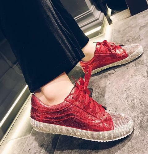 New Women Rhinestone Round Toe Flat Leisure Athletic Sport shoes Sneakers Bling