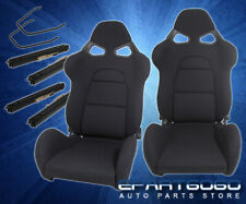 Full Reclinable Sport Racing Bucket Seats Black Cloth Gray Accent Universal Pair Fits Cts V