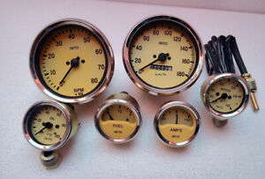 Smiths-Replica-kit-temp-oil-fuel-amp-gauge-mechanical-100-mm-Tacho-Speedo-kmph