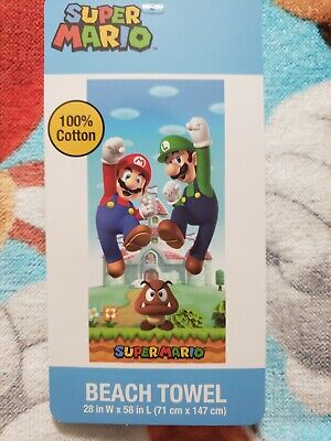 "Super Mario /& Luigi 28/"" x 58/"" Beach Towel NEW"