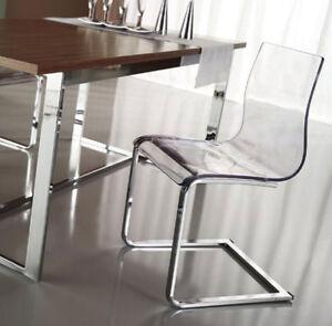4 sedie leg slitta vari colori design nuove trasparente for Sedie soggiorno economiche