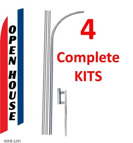 four OPEN HOUSE red//wh//bl 15/' SWOOPER #3 FEATHER FLAGS KIT with poles+spikes 4