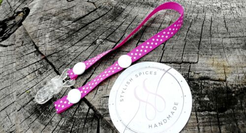 Polka dot Dummy Clip Holder Baby Pacifier Soother Strap 10-25mm UK BUY2GET1FREE