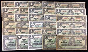 1937-Bank-of-Canada-1-Lot-of-30-Banknotes