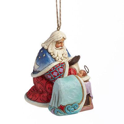 Jim Shore Santa w/Baby Jesus & Angel Scene Christmas Ornament ~ 4041110