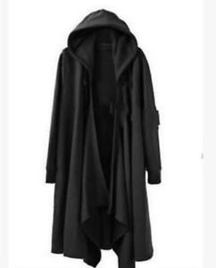Men's Casual Gothic Long Cloak Cape Coat Loose Hoodie Jackets Black PunK Trench