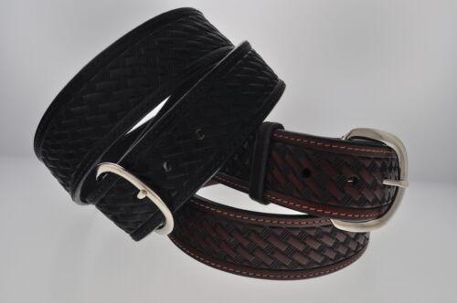 """New 1 5//8/"""" WIDE WESTERN BASKET WEAVE Leather Belt 727"""
