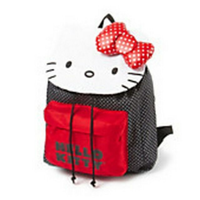 hello kitty large polka dot backpack bow red black white loungefly