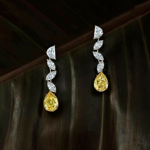 3Ct Pear Marquise Yellow Simulant Diamond Dangle Earrings Silver White Gold Fnsh