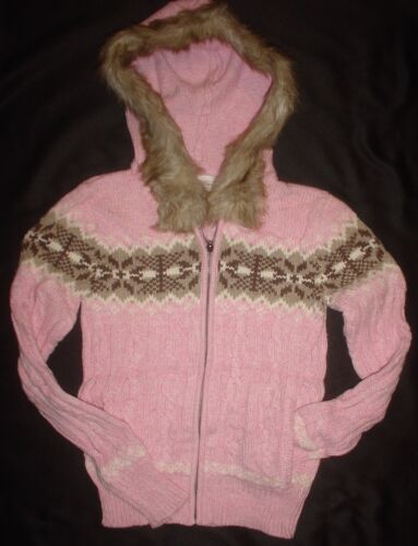 Aeropostale Womens Zip Hooded Sweater Brown or Pink Size S New $89.50
