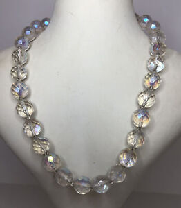 1950s Crystal Necklace Aurora Borealis Glass Faceted Beads Vintage Beaded Retro