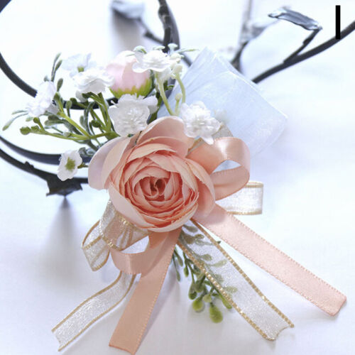 Girls Bridesmaid Wrist Flowers Wedding Prom Party Corsage Hand Flowers