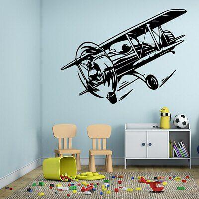 Windowed Airplane Wall Vinyl Decal Sticker Family Kids Room Travel Flight Fun