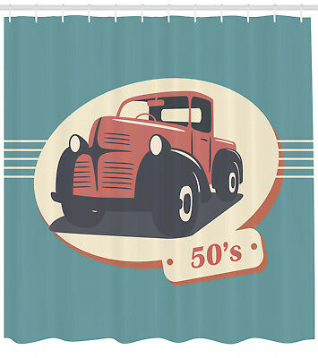 Illustration Of Retro Diner With Vintage Cars 50 S Themed Shower Curtain Set Curtains Garden