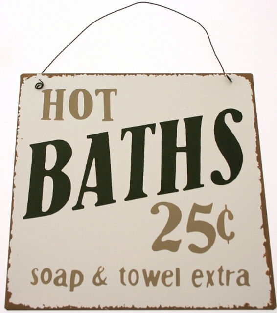 Chic & Shabby Retro Bathroom Hot Baths Metal Wall Door Vintage Retro Sign