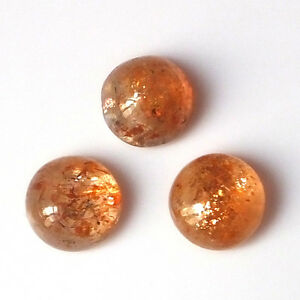 9-MM-Round-Natural-Unheated-African-Fire-Sunstone-Cabs-3-Pieces-Gemstone-Lot