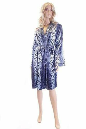 Marlon Blue Satin Animal Print Dressing Gown Size 18 House Coat Robe
