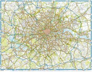 Details about M25 Main Road Map of London by A-Z Map (GLOSS ENCAPSULATED  WALL MAP)