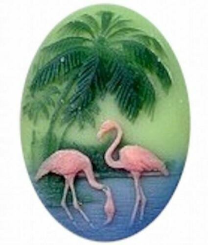 40x30mm Tri-Color  Pink Flamingo with Green Plam Tree Resin Cameo 453R