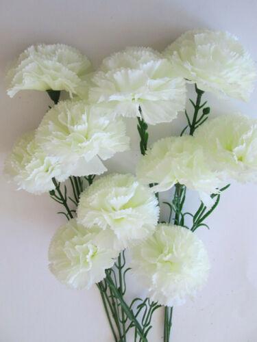 10 Nelken 54cm Blütenköpfe 10cm Künstliche Kunst Seiden Blumen Strauß Pflanzen