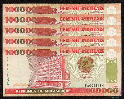 1993 Frugal Mozambique 100,000 100000 Meticais X 5 Pcs Unc Dependable Performance P-139