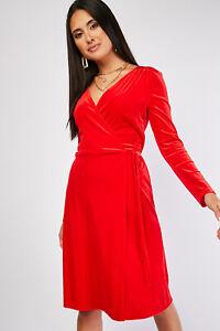 Ex-Branded-Ladies-Red-Wrap-Midi-Dress-Sizes-UK-8-10-12-14-16-18-20-22