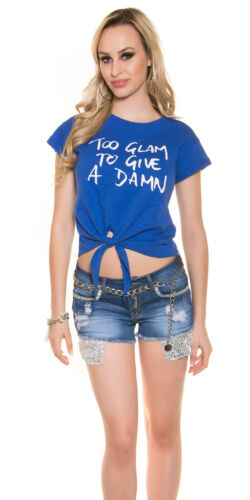 """S//M 36-38-40 Trendy Wickelshirt T-Shirt Sommer Shirt /""""too glam to give a damn/"""""""