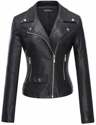 Women-039-s-Black-Biker-jacket-genuine-leather-Retro-Cafe-Racer