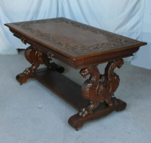 Image Is Loading Antique Highly Carved Oak Partners Desk Library Table