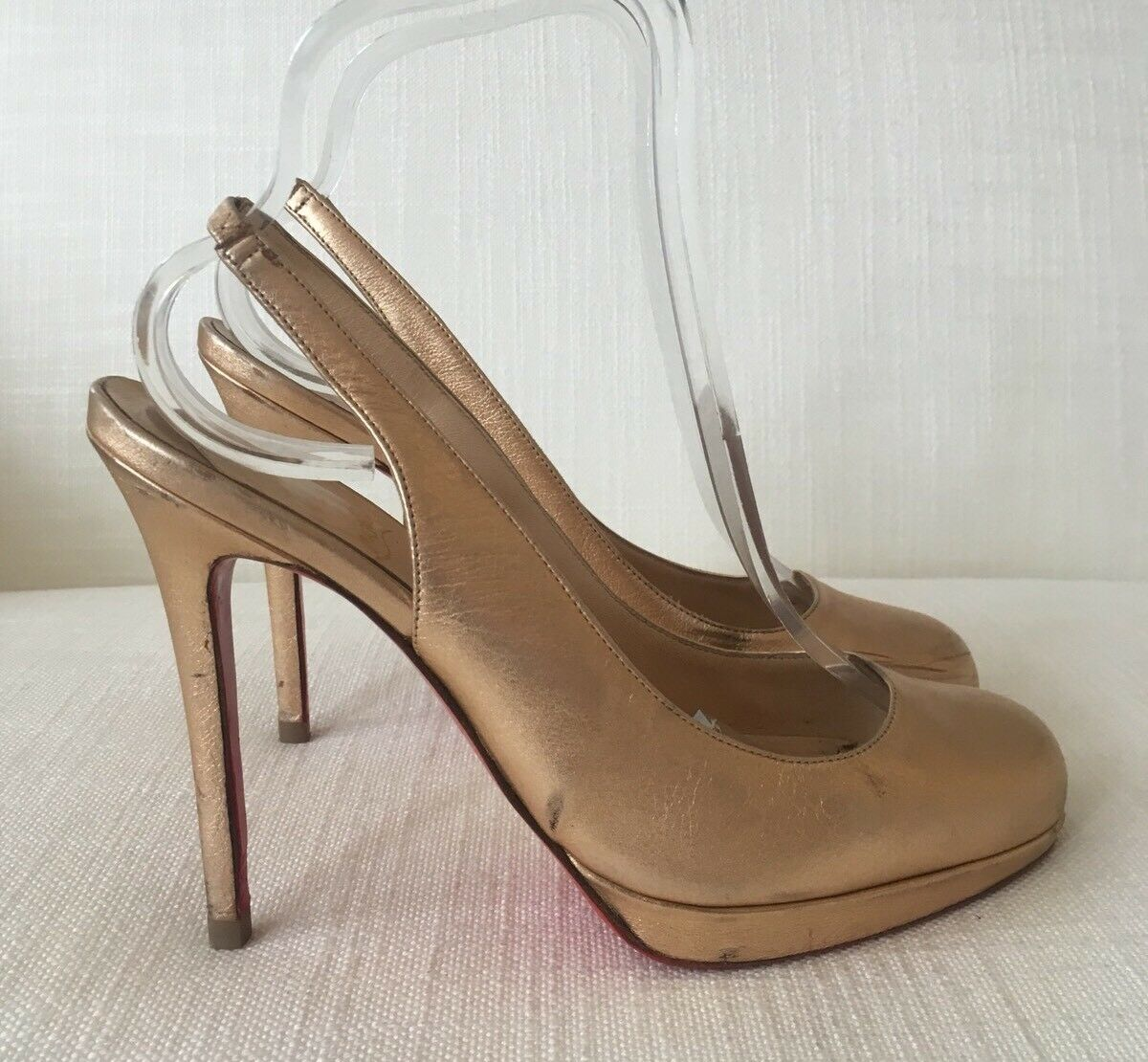 Christian Louboutin Or Rose Horatio Sling chaussures taille 38.5 utilisé