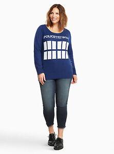 Torrid Doctor Who Tardis Distressed Sweater Plus Size 1 2 3 4 1x 2x