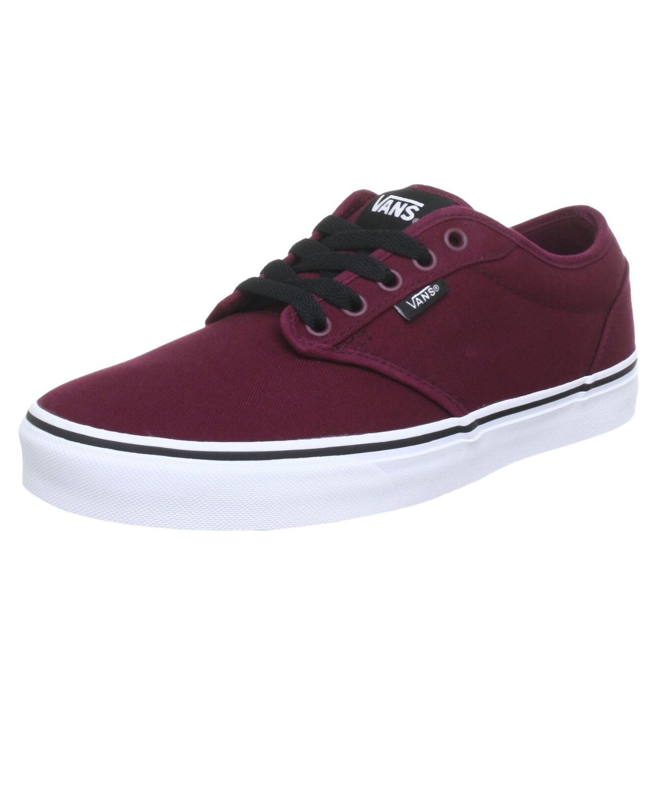 VANS Atwood Hombre Canvas Up Skater Trainers Plain Zapatos Lace Up Canvas Plimsolls Oxblood 646cd2