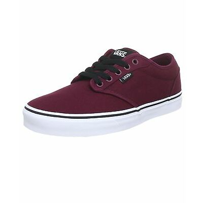VANS Atwood Mens Canvas Skater Trainers Plain Shoes Lace Up Plimsolls Oxblood