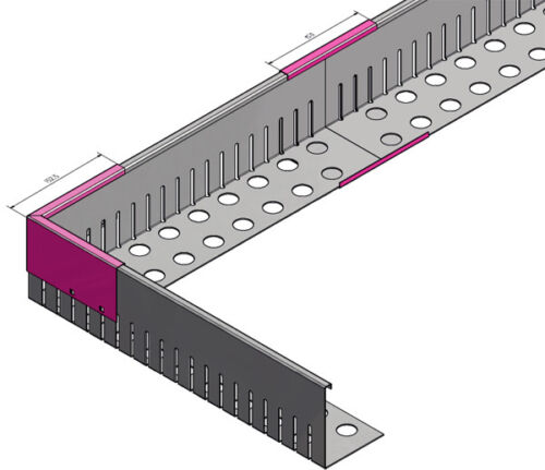 16mtr Kiesfangleiste Edelstahl 1.4301 1,0 mm gelocht inkl. Verbinder 24 Schraube