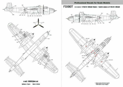 Foxbot 48-012 Decals 1//48 Stencils for North American B-25 C//D//J Mitchell