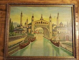 Folk-Art-by-Pete-Johnson-Oil-on-Board-Signed-Framed-21-1-2-034-x-17-1-2-034