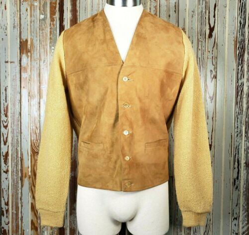 Vtg Impaca Puritan Mohair Wool Suede Cardigan Swea