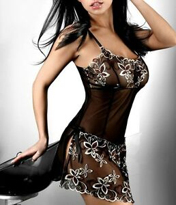 Floral-Polyester-Gowns-Plus-Black-Chemise-Sleepwear-Lingerie-Babydoll-Size-S-6XL