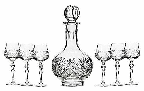Set of 7 16-Oz Vintage Cut Crystal Liquor Decanter Set with 6 Sherry Glasses (6)