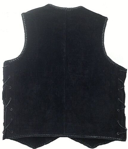 Motorcycle Biker Leather Vest Clip Motorbike Rider Waistcoat Braid Leather Vest