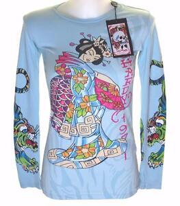 New-Women-039-s-Ed-Hardy-Long-Sleeve-Specialty-T-Shirt-Stretch-Kimono-Geisha-Small