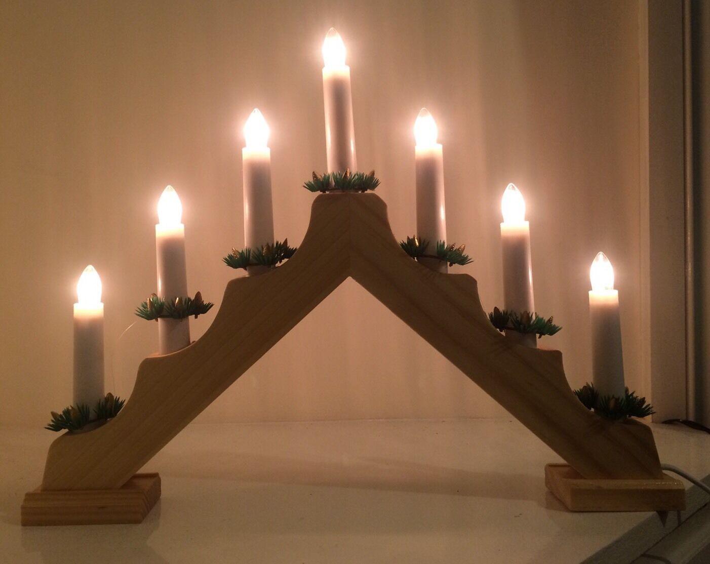 7 lightwooden pont de lumières bougie lumières de de Noël Fenêtre Décoration / Femmetlepiece / mains df7737