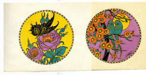 1930s-French-Pochoir-Print-Art-Deco-Japanese-Motifs-Flowers-Birds-Butterfly