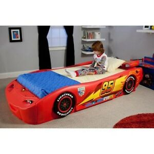 Image Is Loading Disney Cars Lightning Mcqueen Twin Bed With Lights