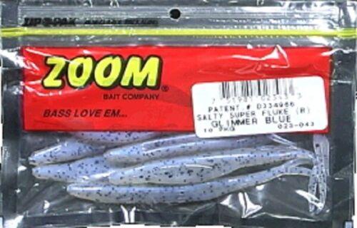 "Lot 3 Zoom 023-043 Glimmer Blue Super Fluke 5/"" Baitfish Imitator Soft 10 Pack"
