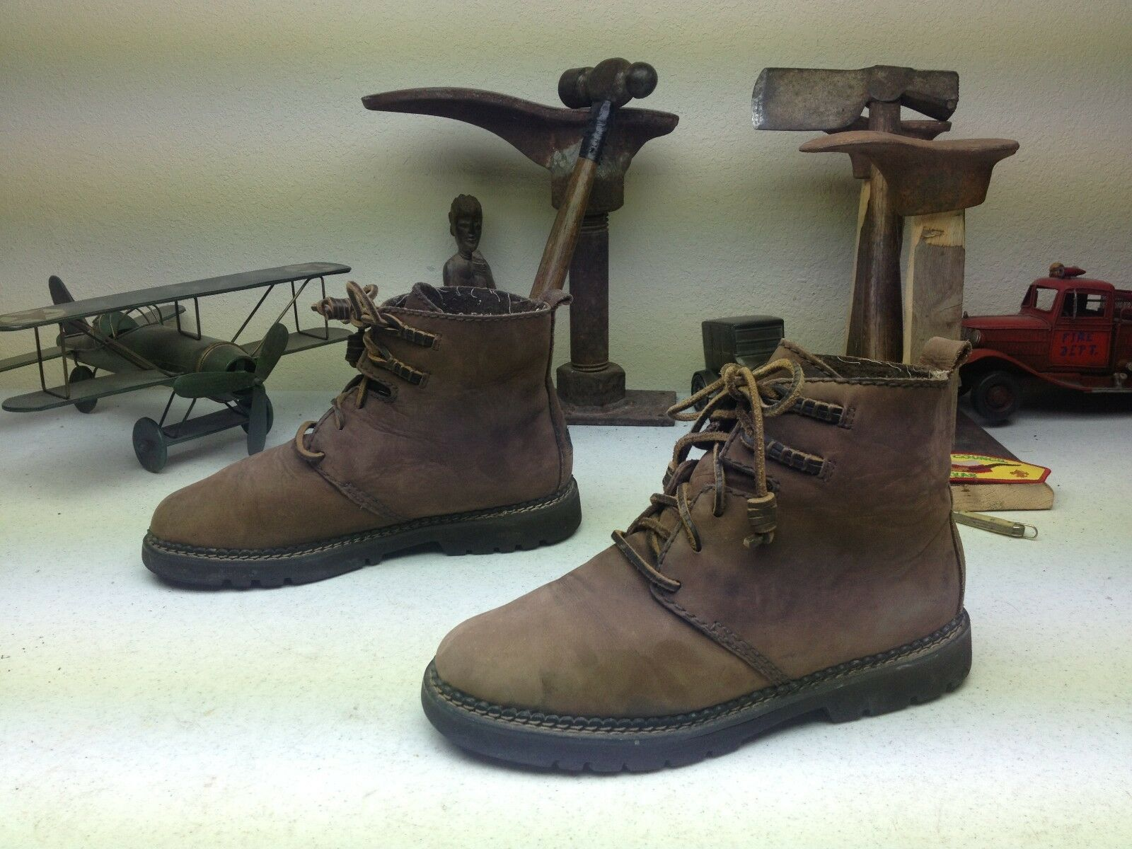 DISTRESSED G.H. BASS TRAIL BROWN  LEATHER LACE UP HIKE TRAIL BASS Stiefel 8.5M 064e97