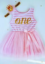 Baby Girl Pink First Birthday Outfit Tutu Dress with Crown Headband One 12M